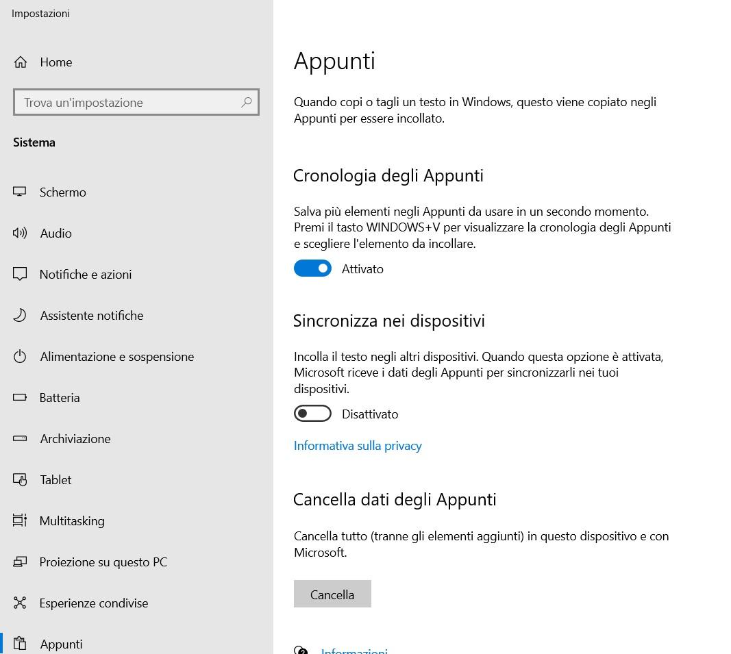 Appunti Windows 10 – Copia, copia, copia … Incolla